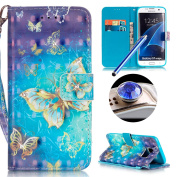 S7 Edge Bling Wallet Case,Samsung S7 Edge Diamond Case,Etsue Elegant Gold Butterfly Rhinestone Pattern Pu Leather Strap Wallet Glitter Magnetic Book Style Card Slots Flip Case Cover with Stand for Samsung Galaxy S7 Edge +Blue Stylus Pen+Bling Glitter D ..