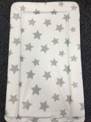 Deluxe Unisex Baby Waterproof Changing Mat with Raised Edges - Unique White with Grey Stars Design