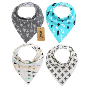 iZiv(TM) 4 PACK Baby Bandana Drool Bibs with Adjustable Snaps, Waterproof TPU Lining 0-2 Years