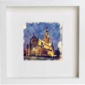 Glasgow Cathedral at Night Framed Art Picture Photo Print - 25cm x 25cm - White