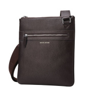 Bison Denim Mens Leather Shoulder Bag Handbags Briefcase for the Office Messenger Bag Large Enough to Hold iPad Air / iPad Mini