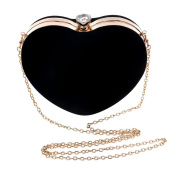 Ashdown Women Evening Clutch Bags Suede Heart Shaped Handbag Party Wedding Shoulder Bag Purse,Black