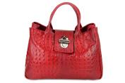 Belli ® Classic Genuine Leather Red Croc Patent Handbag 36 x 25 x 18 CM