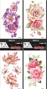 Latest new design and hot selling realistic tattoo stickers 4pcs realistic tattoo stickers in one package Colourful flowers realistic tattoo stickers, it including peony,lotus,roses,etc.