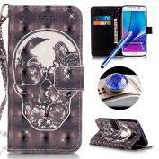 Galaxy Note 5 Bling Wallet Case,Samsung Galaxy Note 5 Diamond Case,Etsue Funny Black Skull FLower Rhinestone Pattern Pu Leather Strap Wallet Glitter Magnetic Book Style Card Slots Flip Case Cover with Stand for Samsung Galaxy Note 5+Blue Stylus Pen+Bli ..
