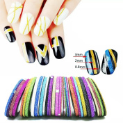Goldenssy 36Pcs 3 Size Matte Effect Sandy Striping Lines Nail Art Strip Tape DIY Adhesive Sticker Tips Fingernail Decoration Manicure Decal Mixed Colour