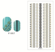 NAIL ART LACE STICKER BLACK GOLD - 2 Sheets Self-Adhesive Stencils FL057 58