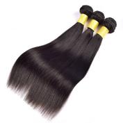 YanT HAIR 9A Grade Peruvian Virgin Hair Straight Human Hair Weave 3 Bundles 14 14 41cm Natural Black Colour Pack of 3