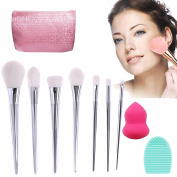 VONISA 7pcs Soft Makeup Brushes Sets-Professional Kabuki Make Up Brush Set-Face Foundation Eye Cosmetic Brush Kit-Contour Make Up Brushes-Makeup Brush Cleaner with Makeup Sponge Puff+ Cleaning Egg