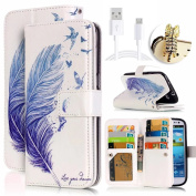 Galaxy S6 Case, Vandot Colourful Relief Drawing Wallet Case Synthetic Leather Flip Stand [9 Card Slots] Case With Magnetic Closure Cover for Samsung Galaxy S6 G9200 SM-G920F -Blue Feather+ Bling Anti Dust Plug + Micro USB Charging Data Line