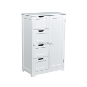 FoxHunter Free Standing White Wooden 4 Drawer 2 Shelves Bathroom Storage Cupboard Cabinet With one Door Organiser Unit FH-BS-02