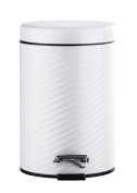 Wenko 22151100 Spiro Cosmetic Pedal Bin 3 Litres Stainless Steel 17 x 26 x 22 cm White