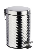 Wenko 22152100 Spiro 3 Litre Cosmetic Pedal Bin Polished Stainless Steel 17 x 26 x 22 cm