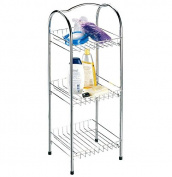 Metal Bathroom Standing Shelf - Provides 3 Tiers Of Convenient Spacious Shelves - . Chic Chrome Finish