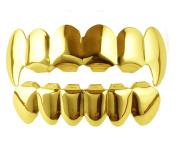 Men's Gold Tone Top & Bottom Fangs Grillz Hip Hop Bling Bling Mouth 6 Teeth Caps