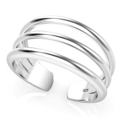 Sterling Silver 3 Row Adjustable Toe Band Ring