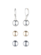 Nine West Silver, Gold and Hematite Trio Set of Earrings
