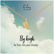 """Lily Charmed - Gold Paper Plane Necklace with """"Fly High"""" Message Card"""
