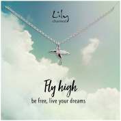 """Lily Charmed - Sterling Silver Hummingbird Necklace with """"Fly High"""" Message Card"""