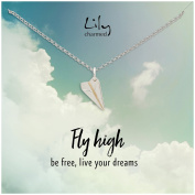 """Lily Charmed - Sterling Silver Paper Plane Necklace with """"Fly High"""" Message Card"""