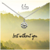 """Lily Charmed - Sterling Silver Compass Necklace with """"Lost"""" Message Card"""
