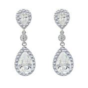 SELOVO Elegant Prong Teardrop Cubic Zirconia Vintage Style Party Bridal Clip-on Dangle Earrings
