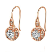 Tonver Cubic Zirconia Hook Earrings 18K Rose Gold Plated Inlaid Sparkling Clear Czech Rhinestone