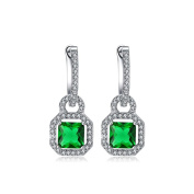 RedFly Loving Lock Design Princess CZ Crystal 18ct White Gold Plated Women Drop Earrings