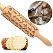 Cats Laser Embossed Wooden Rolling Pin 34cm