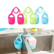SwirlColor Double Pocket Hanging Storage Drain Basket Sink Organiser Rack Brush Holder Kitchen and Bathroom Tools Gadget