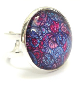 Adjustable Vintage Style Silver Plated Paisley Patterned Glass Cabochon Ring