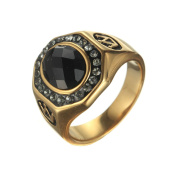 LOPEZ KENT Fashion Stainless Steel Men Vintage Crown Black Stone Band 18K Gold Plating Ring