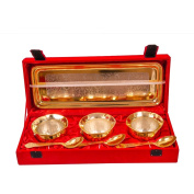 Marusthali Festival Gifts Gold Plated Handi Set in 3 Handi Bowl 3 Spoon With Tray