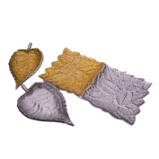 Marusthali Décor Your Table With Silver And Gold Leaf Shaped Bowl With Tray