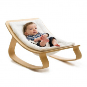 levo baby rocker in beech wood with gentle white cushion