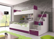 """BUNK BED """"TALA"""" WITH MATTRESSES for 2 children, FUNCTIONAL DESIGN, HIGH GLOSS INSERTS"""
