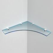 """Large Acrylic Corner Shelf 300mm approx 12"""", Free Trolley Token Material Sample Included per Shipment , Cool Blue Tint"""