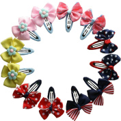 12pcs Wide Brim Butterfly Ribbon Flower Baby Hairpins Mini Hair Barrettes Pin For Baby Girls Kids Children Hair Accessories