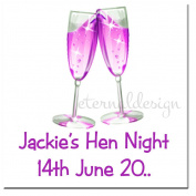 Eternal Design 15 x 55mm Square Hen Night White Glossy Stickers HNSS 12
