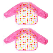 2pcs Baby Bibs Apron Long Sleeve Waterproof Feeding Painting Art Cute Cartoon Toddler Saliva Towel Baby Smock Polka Dot Pink