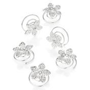 Six piece silver colour crystal flower design hair swirl set. 498