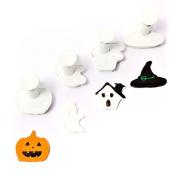 Fondant Cutter Plunger Set 4pcs Halloween Ghost Pumpkin Witch Hat Haunted House