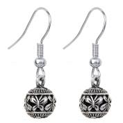 YAZILIND Tibetan Silver Plated Carve Butterfly Bead Hook Dangle Earrings
