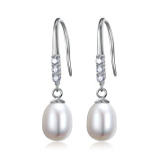 Quality Freshwater Cultured Pearl & Zirconia Necklace & Earring Set - Matching Freshwater Pearl Drop Earrings With Gift Box