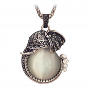Chaomingzhen Vintage Elephant Pendant Necklace Women with Long Chain Crystal White Gold Plated
