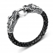 MESE London Leather Dragon Bracelet Black/ Gold/ Silver Men's Viking's Serpent Head 21.5cm