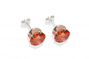 Sterling silver 8mm CZ crystal stud earrings. Gift box