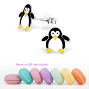 CuteCachoo - Mini macaron gift box included! Super cute children's penguin earrings. Quality sterling silver earrings for kids or adults.