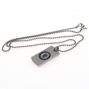 Official Chelsea FC Stainless Steel Colour Crest Dog Tag And Chain