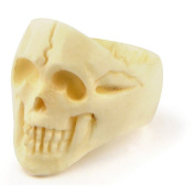 Ring Natural Looking Skull Hand Carved Made With Bone by JOE COOL